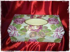 Decoupage tissue box wooden tissue box vintage by LaverdureStudio