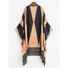 SheIn(sheinside) Geo Print Kimono (1,170 INR) ❤ liked on Polyvore featuring intimates, robes, boho kimono, colorful kimono, kimono robe and long sleeve kimono