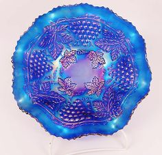 Northwood Electric Blue Grape & Cable Ruffled 11 Inch Carnival Glass Bowl