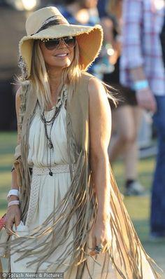 Fergie with Fringed Floppy Hat, Peasant Dress with Fringe Vest at Coachella 2012