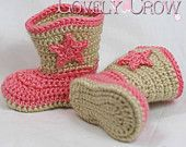 cowboy crochet boots, Might have to try to make these for my new grandson or maybe ask my mom to make them. hehehehe