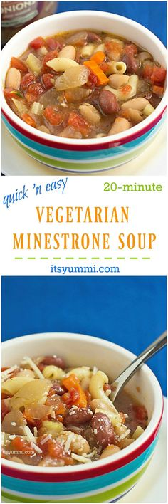 This Easy Vegetarian Soup recipe is the perfect 20-minute, healthy weeknight dinner! | itsyummi.com