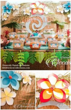 Hawaiian paper flower tutorial. How to make giant tropical paper flowers for Moana birthday theme. Party Moana, Moana Birthday Party, Luau Party, Moana Theme, Birthday Parties, Themed Parties, Hawaiian Theme, Hawaiian Flowers, Hawaiian Birthday