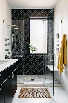 Modern black and white bathroom with walk in shower and herringbone tile Chicago interior design Bathroom Renos, Bathroom Renovations, Remodel Bathroom, Budget Bathroom, Ikea Bathroom, Shower Remodel, Bathroom Furniture, Shiplap Bathroom, Dark Floor Bathroom