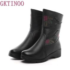 Only US $36.88 High Quality Women Genuine Leather Shoes Casual Ladies Martin Boots Winter Warm Flat Women's Boots Plush large size