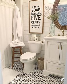 Vintage Farmhouse Bathroom Remodel Ideas On A Budget - bathroom ideas remodelisdefinitely important for your home. Whether you choose the bathroom remodel - Modern Farmhouse Bathroom, Vintage Farmhouse, Farmhouse Small, Farmhouse Ideas, Country Farmhouse, Farmhouse Mosaic Tile, Farmhouse Budget, Craftsman Bathroom, Fresh Farmhouse