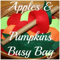 Fall threading activity. Simple felt pumpkins and apples threading and patterning play that also turns into a great busy bag!