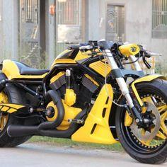 "Harley-Davidson® VRod custom ""Lemon"" by SQ Custom Harley Night Rod, Harley Davidson Night Rod, Harley V Rod, Harley Davidson Road Glide, Harley Bikes, Vrod Custom, Custom Sportster, Custom Harleys, Custom Motorcycles"