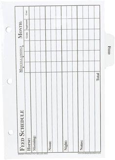 Feed Record Binder Sheets 12 ct
