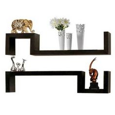 Set Of 2 S Shaped Floating Wall Shelves Units DVD CD BOOK Storage Shelf  Display Unit