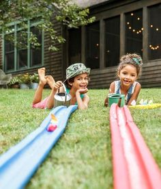 Boat Racetrack - Kids can race homemade boats down these tracks made from large-hole pool noodles cut in half lengthwise.