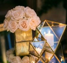 Geometric candle holders sparkled across the room   Chocolate Rain forest   White Lilac Inc.   Event Design for Weddings, Fashion, Social and Corporate functions.