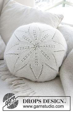 White flower pillow / DROPS - free knitting patterns by DROPS design - Stricken - Crochet Stitches Patterns, Knitting Patterns Free, Free Knitting, Baby Knitting, Free Pattern, Crochet Cushions, Crochet Quilt, Crochet Home, Pouffe Pattern
