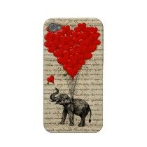 Elephant holding heart #balloons iphone 4 case-mate case by vintageprintstore #zazzle