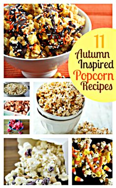 """""""11 Popcorn Recipes"""" ~ includes """"bacon"""", """"buffalo ranch"""", """"jello"""", """"white chocolate"""", ect...... Candy Popcorn, Flavored Popcorn, Gourmet Popcorn, Popcorn Snacks, Yummy Snacks, Delicious Desserts, Snack Recipes, Cooking Recipes, Yummy Food"""
