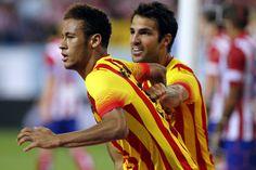 Neymar celebra con Cesc el gol del empate Fc Barcelona, Neymar, Sumo, Wrestling, Athlete, Sports, Lucha Libre