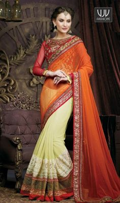 Amazing Red And Green Soft Net Designer Saree Amazing red and green soft net designer saree featuring embroidery, zari, stone, resham, lace and patch border work.