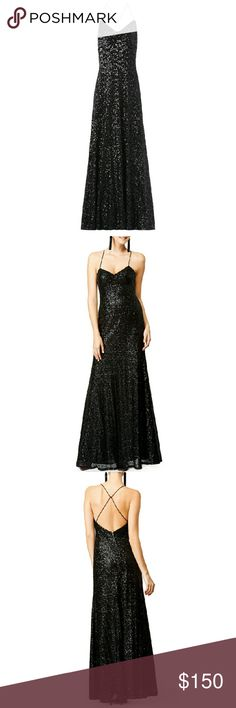 Black sequin Jill Stuart dress Black sequins on mesh (100% polyester). Sleeveless. Sweetheart neckline with cris-cross back. A-line skirt. Exposed back zipper with hook-and-eye closure. Lined. See size and fit tabs for lengths. Imported. Jill Stuart Dresses
