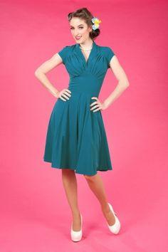 adb9df3aaf66 Miss Candyfloss - 50s Odette light petrol swing dress Vintage Dresses 50s,  Retro Dress,