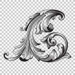 Corner Isolate vintage baroque ornament retro pattern antique style acanthus. Decorative design element filigree calligraphy vector. You can use for wedding decoration of greeting card, laser cutting.