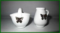 Piccolo cestino e brocca in porcellana con decorazioni color argento 3,5x3 gafo
