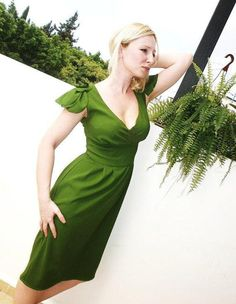 Forest Green satin dress with special handmade by angelikaliv, $159.90