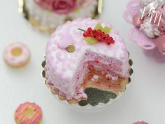 Pink Cut Layer Cake Red Currant Arabesque by ParisMiniatures
