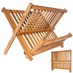 Bamboo Dish Rack ANKO 100 Natural Bamboo 2Tier Collapsible Dish Drying Rack Kitchen Utensil Holder Wooden Dish Drainer NATURAL1 PACK >>> Details can be found by clicking on the image.-It is an affiliate link to Amazon. #KitchenUtensils