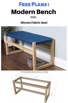 How to Build Wooden Bench with Woven Fabric Seat – ToolBox Divas – Diy Furniture Ideas Diy Furniture Projects, Diy Furniture Plans, Small Furniture, Handmade Furniture, Furniture Design, Wood Projects, Furniture Buyers, Furniture Websites, Furniture Stores