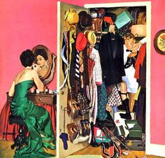 Hunting His Tux For The Party - Dick Sargent. This will be me and my husband when I get married. Norman Rockwell, Retro Art, Vintage Art, Funny Vintage, Sargent Art, Pin Up, Naive Art, Pulp Art, Couple