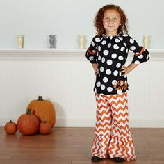 Check out this Black Dot Orange Chevron Halloween Pant Set for $39 or find your favorite gifts at Lolly Wolly Doodle. Click on the link to receive three dollars off your next order!