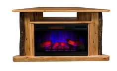 Amish Classic Corner TV Stand LED Electric Fireplace with Remote - Hickory Rustic, warm and charming, this electric fireplace adds a cozy unit. Control it from the couch with the remote. You can turn the heating unit off when it's not needed and just enjoy the look of the flame images. No clean up. Solid wood construction.