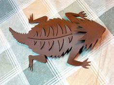 Plasma Cut Steel Horny Toad Lizard Metal Patio Art, Wall Decor: Original Design. $48.00, via Etsy.