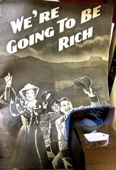 How rich? For these folks, it doesn't really matter in Song sheet to 'We're Going to Be Rich' a musical from 1938 starring Gracie Fields. *tips on how to be rich ! How To Be Rich, Think And Grow Rich, Gracie Fields, Song Sheet, Musicals, How To Make Money, Folk, Songs, Movie Posters