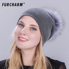 12.54$  Buy now - http://alihax.shopchina.info/1/go.php?t=32815668547 - 2017 New Hats for Girls Wool Knitted Cap with 100% Real Fox Fur Pompom Causal Female Hat Winter Outdoor Warm Ski Hats for Women  #magazineonlinebeautiful