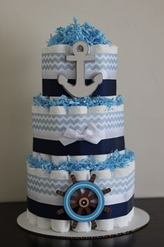 3 Tier Nautical Diaper Cake, Boy Baby Shower, Nautical, Sailboat, Anchor, Nautical Baby Shower, Baby Shower Centerpiece