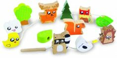 Vilac Forest Animal Beads.  These chunky painted wooden Forest Animals beads is a great way for your young child to develop their fine motor skills.