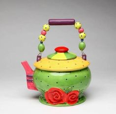 Appletree Design Sugar High Social By Babs Teapot Ceramic Whimsical Rose Green