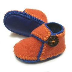 Orange with blue trim soft sole wool baby shoes