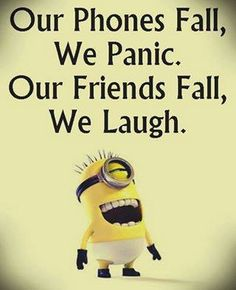 Funny Minion Joke – Phones vs. Friends… - Funny Minion Joke – Phones vs. Funny Minion Pictures, Funny Minion Memes, Funny School Jokes, Crazy Funny Memes, Minions Quotes, Really Funny Memes, Memes Humor, Funny Facts, Funny Photos