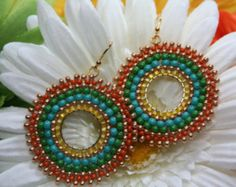 Mexican Breeze Paradise Seed Beaded Hoops Earrings vivid happy colors Summer Spring Rainbow Happy ethnic
