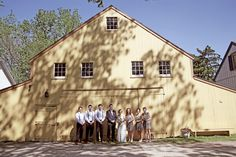 wedding party... j crew bride and bridesmaids at the landis valley museum yellow barn