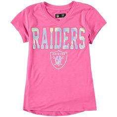 Oakland Raiders 5th   Ocean by New Era Youth Girls V-Neck T-Shirt – Pink c15651ba2