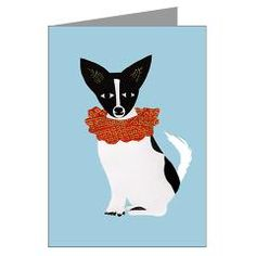 Papillon, Chihuahua, Rat Terrier mix breed greeting card.  Perfect for Christmas or for the circus dog lover in your life.