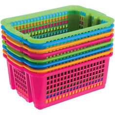 Classroom Stacking Baskets, Small- Neon Colors
