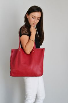 RED LEATHER Tote Bag Large Tote Bag Italian Pebbled by KadoBag