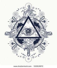 All seeing eye pyramid tattoo art. Freemason and spiritual symbols. Alchemy, medieval religion, occultism, spirituality and esoteric tattoo. Magic eye t-shirt design. Roses and the ship's helm. Compass Tattoo, Lotus Tattoo, Tattoo Ink, Kunst Tattoos, Tattoo Drawings, Religion, Freemason Tattoo, Masonic Tattoos, Freemason Symbol