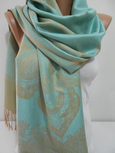 SALE Pashmina Scarf Grayed Jade Scarf Shawl Fall by ScarfClub
