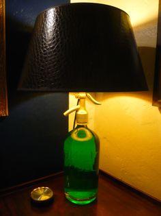 Designed by Tommy Hilbert, #Unikate, #Einzelstücke, #Lampen, #Licht, #Beleuchtung, 'Green Light' rare 50ies #soda bottle, Vienna shade crocodile brown, inside gold One of a kind
