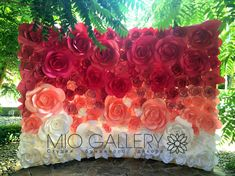 Pink Ombre Paper Flowers - Paper Flowers Backdrop by MIO GALLERY